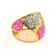 Rózsaszín Swarovski kristályos dizájner gyűrű, arany színű-6
