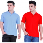 Stars Collection Men's Cotton Polo T- Shirt Comfortable and Stylish T-Shirts with Half Sleeves Blue and Red