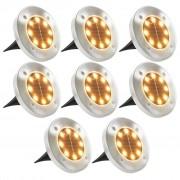 vidaXL Solárne pozemné svetlá, 8 ks, teplé biele LED svetlo
