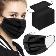 Ochranná rouška z netkané textilie 3 - vrstvá, černá - 50 ks - V&V