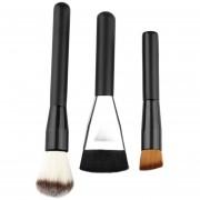 ER Mango De Madera De 3pcs Brush Set Maquillaje Powder Foundation Cepillos Cosméticos