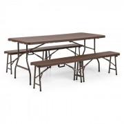 Burgos 3-delige tentmeubelset 1 tafel & 2 banken HDPE klapbaar bruin staal