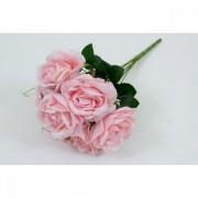 Flori Artificiale Buchet 7 Trandafiri Cu Scarliont Roz