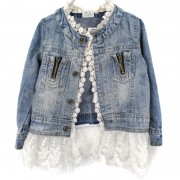 Girls Kids Jean Coat Jacket Outwear Denim Top Button Lace Button Outfits Jacket For Girls Hot Baby Girl Clothes