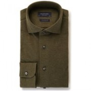 Profuomo Knitted Shirt slim fit overhemd van piqué katoen