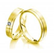 Argollas De Matrimonio Fashion Boutique De México Modelo A27 De Oro Amarillo De 14K Con 1 Diamante Natural De .06ct C/u