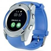 Bass V8 Smart Watch Blue - Funcție sport, slot pentru SIM, aparat de fotografiat, telefoane Android și iOS.