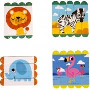 Set puzzle-uri din betisoare lemn Animale salbatice Fiesta Crafts, 18 piese, 12 x 3 cm, 2 ani+