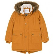 Endo Zimowa kurtka parka dla chłopca 9-13 lat, musztardowa, z futrzastym kapturem