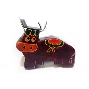 Polinter Hand made Leather Bull Coin Bank/Cat Piggy Bank for kids