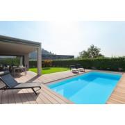 Schwimmbecken-Komplettset G1 mit Skimmer 3,45 x 8,00m und Pool-Überdachung / Pooldach