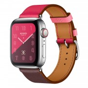 PU Leather Watch Band Adjustable Size for Apple Watch Series 5 4 44mm, Series 3 / 2 / 1 42mm - Rose / Wine Red