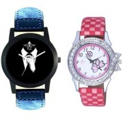 Black-White Dial With Flowers Pink Art Couple Analoge Wrist Watch By Ganesha Exim