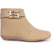 Vaniya shoes Beige Mid Calf Bootie Boots