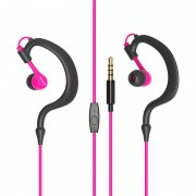 Stylish IPX5 Waterproof 10mm Speaker Wired Headset Sports Earhook Headphones - Rose