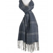 Donkerblauwe sjaal met ruitpatroon in grijs