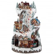 Led Winter Ski Village Scene With Rotating Train And Music Christmas Decorations