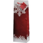 Papírová taška na 1 víno vánoční červená