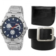 Crude Combo of Blue Dial Watch-rg717 With Black Leather Belt Wallet