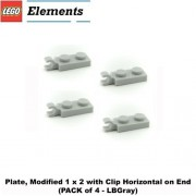 Lego Parts: Plate, Modified 1 X 2 With Clip Horizontal On End (Pack Of 4 Lb Gray)