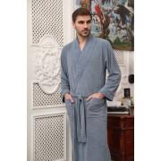 Five Wien Шикарный мужской халат с элегантным кантом цвета индиго Five Wien FW1475 Индиго