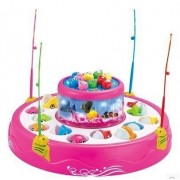 HALO NATION Fish Catching Game Big with 26 Fishes and 4 Pods Fishing Game Includes Music and Lights (Pink)