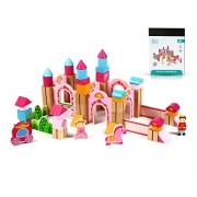 New & Unique Princess Pink Castle Wooden Building Block Set for Toddlers Preschool Age - Hardwood Plain & Colored Small Wood Blocks for Children - Basic Educational Kids Build & Play Toy by Cubbie Lee Toy Company