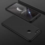 GKK Para Huawei Honor 9 Lite Tres Párrafo 360 Grados De Cobertura Completa PC Estuche Protector Back Cover (Black)