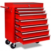 vidaXL Red Workshop Tool Trolley 7 Drawers