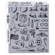 Stampers Anonymous Tim Holtz Juego de Sellos de Goma, 7 x 8.5 Pulgadas, Crazy Things