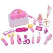 Kids Doctor Medical Kit ,Kingtoys Children Medical Toys,15pcs Medical Doctor Kit Playset ,Pretend Play Tools Toy Set, Promote Skills, Boost Imagination & Creativity(Pink)