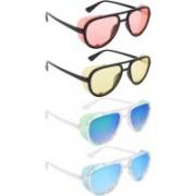 NuVew Aviator, Shield Sunglasses(Orange, Yellow, Green, Blue)