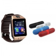 Zemini DZ09 Smartwatch and Facebook Pill Bluetooth Speaker for SAMSUNG GALAXY S 5 SPORT(DZ09 Smart Watch With 4G Sim Card Memory Card| Facebook Pill Bluetooth Speaker)