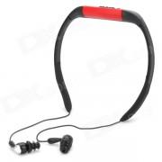 T-21 Sport recargable impermeable del jugador MP3 del auricular en la oreja w / radio FM - Rojo + Negro (8GB)
