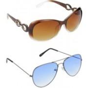 Hrinkar Over-sized Sunglasses(Brown, Blue)