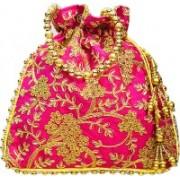 AyA Fashion Designer Royal Ethnic Clutch Silk Potli Batwa Bag with Beads Work|Hand embrodired Design|Rajasthani Potli(Pink)