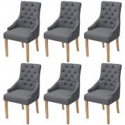 vidaXL Jedálenské stoličky 6 ks, tmavosivé, látka