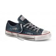 Converse Sneakers Scarpe Canvas Denim Destroyed Ox, Taglia: 41,5, Unisex, Blu, 156743C 400