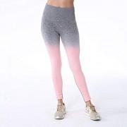 SoftWolf Mallas de compresión ajustadas para mujer, cintura alta, sin costuras, para entrenamiento, deportes, fitness, atletismo, mallas, Púrpura rosa, S