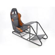 FK-Automotive siège de jeu pour PC et consoles de jeu en cuir synthétique noir / orange