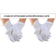 Nandini White Men Full Hand Cotton Gloves and Sun Protection with Double Cloth Set of 2 Pairs
