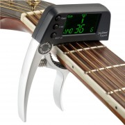 Professional Guitar Tuner Clip, Loftstyle Afinador Cromatico Pantalla LCD Pantalla Luz Giro Solo Guitar Capo (plata)