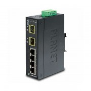 Planet Industrial 6-Port 4x 100mbps RJ45 2x 100Mbps SFP FX Slots Slim, -4075C Unmanaged PLT-ISW-621TF