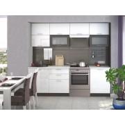 Smartshop Kuchyně FINTONA 180/240 cm bez pracovní desky, wenge/bílý lesk