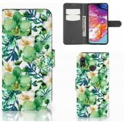 Samsung Galaxy A70 Hoesje Orchidee Groen