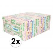 Shoppartners 2x Cadeaupapier gekleurde teksten 200 x 70 cm op rol