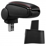 Подлакътник [pro.tec]® Seat Ibiza 6L с контейнер за съхранение, Еко кожа/Черен, червен шев