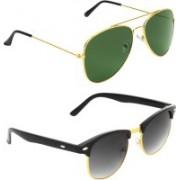 Abner Aviator, Clubmaster Sunglasses(Green, Black)