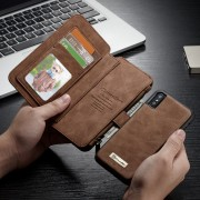 CASEME 007 Series Detachable 2-in-1 Zipper Wallet Split Leather Mobile Phone Shell for iPhone Xs 5.8 inch - Brown