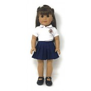 CUSTOMIZABLE School Uniform for American Girl Doll - YOUR OWN SCHOOL LOGO - DIY by Magic Dolls - Fits 18'' Dolls Teddy Bears Our Generation, AG Crafts, Outfit to Match Girl School Uniform